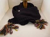 Bedacht gebreide 3hoek sjaal / aubergine_
