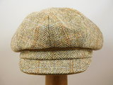 Bronte Damespet Harris tweed visgraat beige_