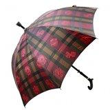 Gastrock 'Step brella' paraplu & wandelstok Grijs /Rood bloem motief_
