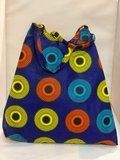 African Wax tas / shopper bag circles INDIGO _