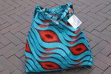 African Wax tas / shopper bag waves BLUE & ORANGE_