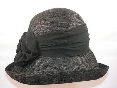 Seeberger hoed met opgeslagen rand fijne bandstro zwart