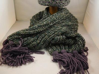 Bedacht sjaal honingmotief / groen paars
