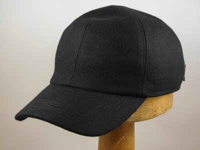 Wigens Baseball Cap met oorklep / wol zwart