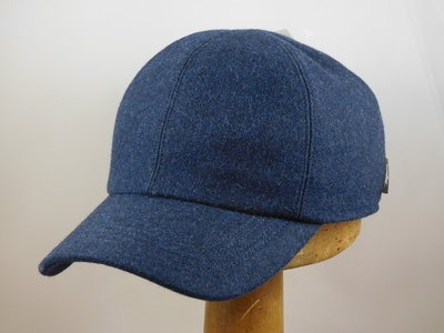 Wigens Baseball cap met oorklep / wol jeansblauw