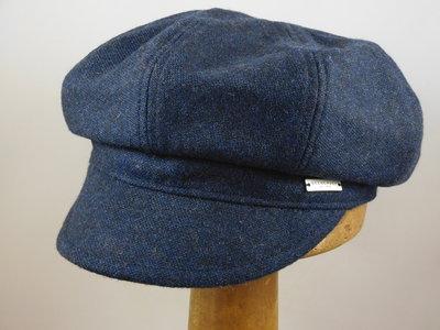 Seeberger Ballonpet 'tweed look' / blauw