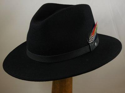 Stetson Traveller 'rechte rand' / zwart