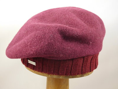 Seeberger baret met rand / burgundy