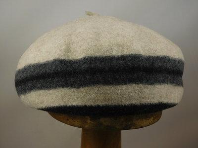 Seeberger toque baret streep / naturel
