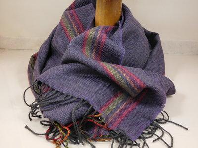 John Hanly sjaal 47 x 220 merinowol paars streep