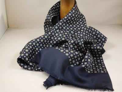 Daspartout sjaal zijde wol bloemetje / navy