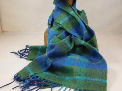 John Hanly sjaal 30 x 180 merinowol groen blauw