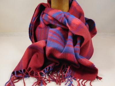John Hanly sjaal 30 x 180 merinowol rood blauw