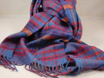 John Hanly sjaal 30 x 180 merinowol jeans rood