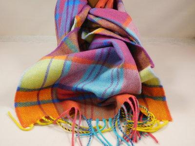 John Hanly sjaal 30 x 180 merinowol geel oranje mint