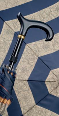 "Gastrock 'Step brella' paraplu & wandelstok Navy/Taupe ""Nautic"""