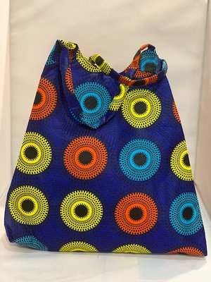 African Wax tas / shopper bag circles INDIGO
