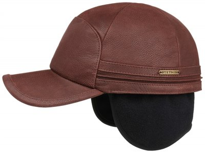 Stetson Cowhide Leather Baseballcap met oorkleppen Bordeaux