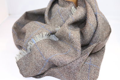 Alfonso D'Este Sjaal Wol visgraat BRUIN streep blauw