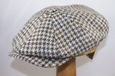Wigéns Newsboy Classic Cap Wool Houndstooth Blue Taupe