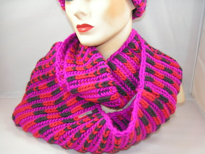Seeberger 'loop' sjaal rood fuchsia