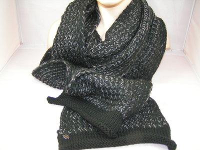 Seeberger sjaal uni rand zwart/grijs