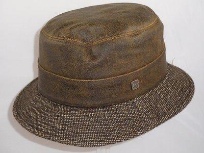 Alfonso D'este visser hoed wol leder bruin