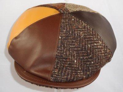 Alfonso D'este ballonpet 'leeds' patchwork leder