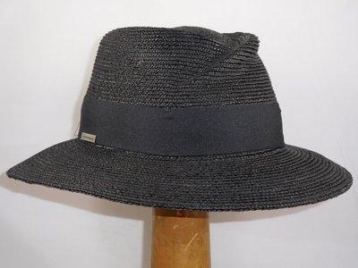 Seeberger zomerhoed bandstro kneep zwart