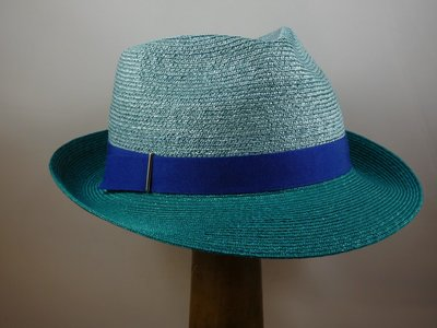 Marzi trilby bandstro 2tone mint turqoise