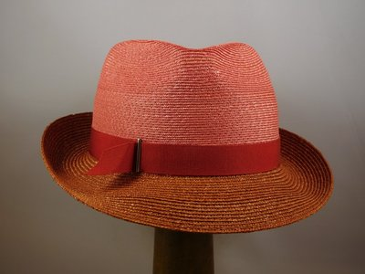 Marzi trilby bandstro 2tone coral roest