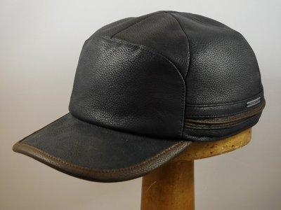Stetson baseballcap leder zwart