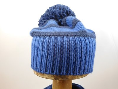 Bedacht Beanie Wol met pompon / Gestreept blauw