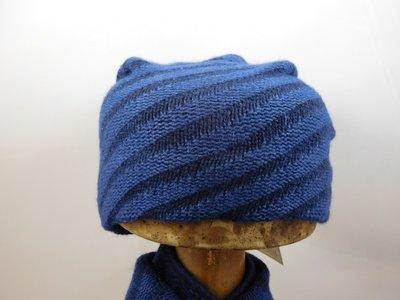 Bedacht Beanie streep blauw