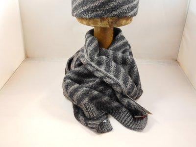 Bedacht Wollen Sjaal / Gestreept antraciet