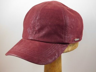 Wigens baseball cap imitatie leder bordeaux