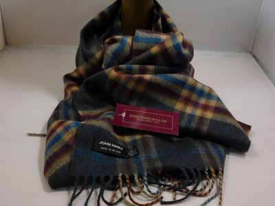John Hanly sjaal 30 x 180 merinowol ruit antraciet beige bordeaux raf blauw