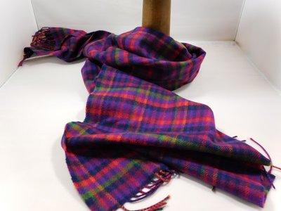 John Hanly sjaal 30 x 180 merinowol ruit paars oranje groen
