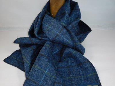 City Sport sjaal tweed ruit blauw
