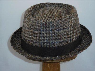 Mida pork pie hoed tweed bruin