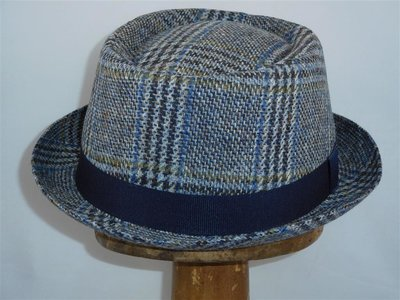 Mida pork pie hoed tweed blauw