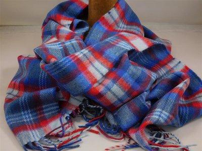John Hanly sjaal 30 x 180 merinowol ruit kobalt rood