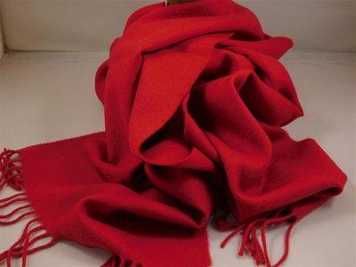 John Hanly sjaal 30 x 180 merinowol rood