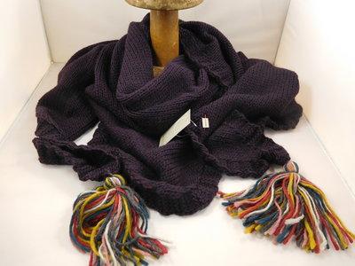Bedacht gebreide 3hoek sjaal / aubergine
