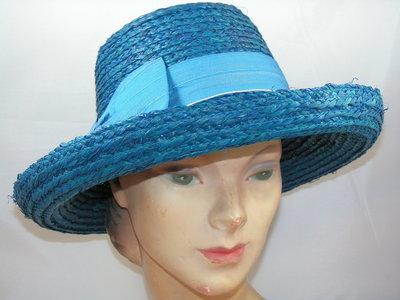 Seeberger raffia hoed opgeslagen rand blauw