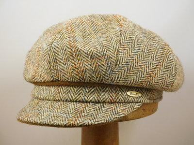 Bronte Damespet Harris tweed visgraat beige
