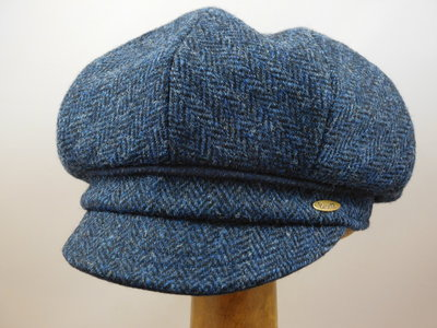 Bronte Damespet Harris tweed visgraat blauw