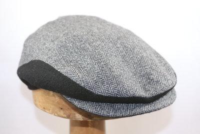 Alfonso D'Este Classic Cashmere flatcap visgraat GRIJS & ZWART