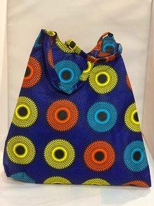 African Wax tas / shopper bag circles INDIGO