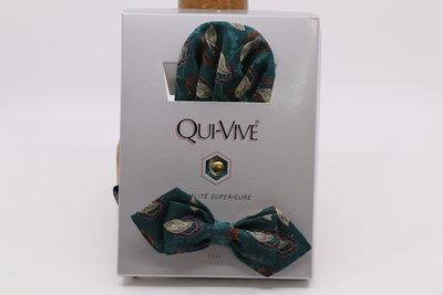 Qui-Vive Vintage Vlinderdas en zakdoek set